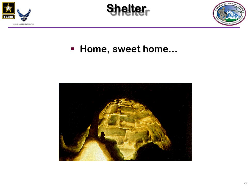Shelter Home, sweet home...