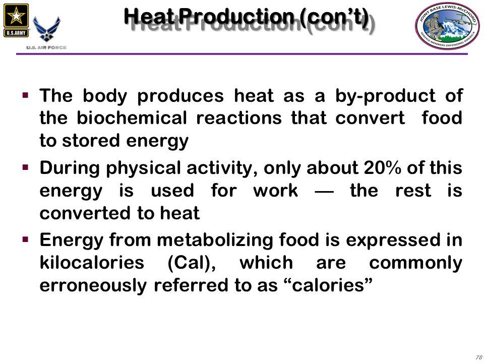 Heat Production (con't)