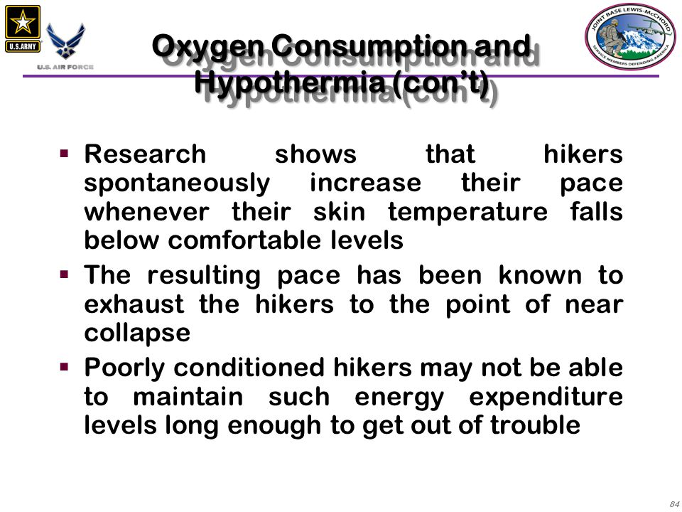 Oxygen Consumption and Hypothermia (con't)