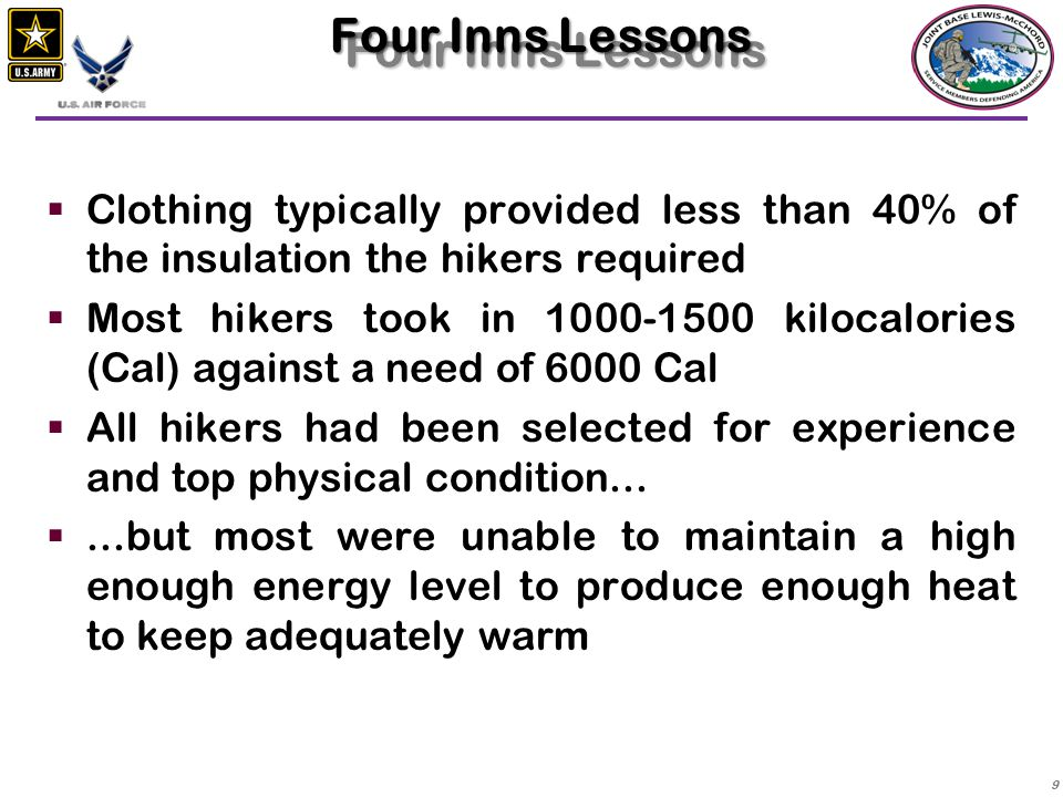 Four Inns Lessons Clothing typically provided less than 40% of the insulation the hikers required.