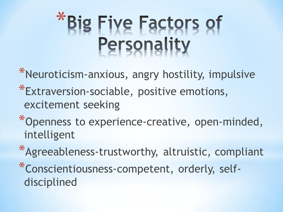 Big Five Factors of Personality