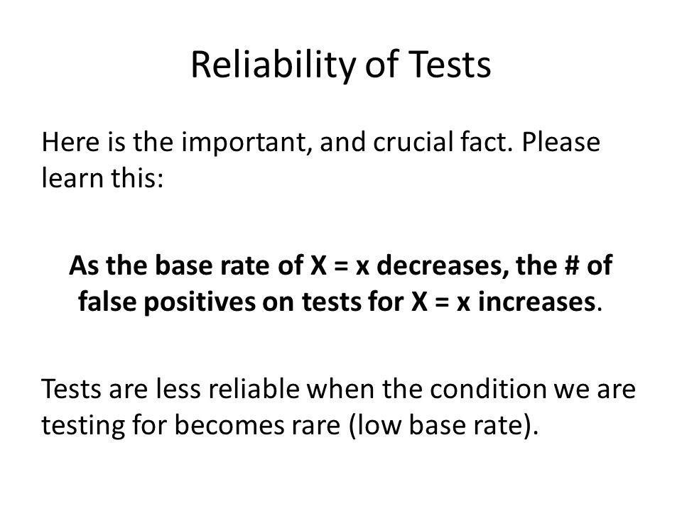 Reliability of Tests