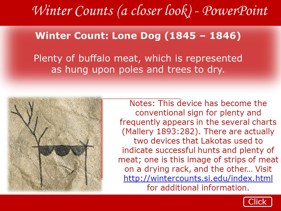 Winter Count: Lone Dog (1845 – 1846)