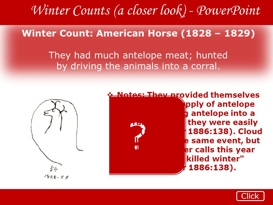 Winter Count: American Horse (1828 – 1829)