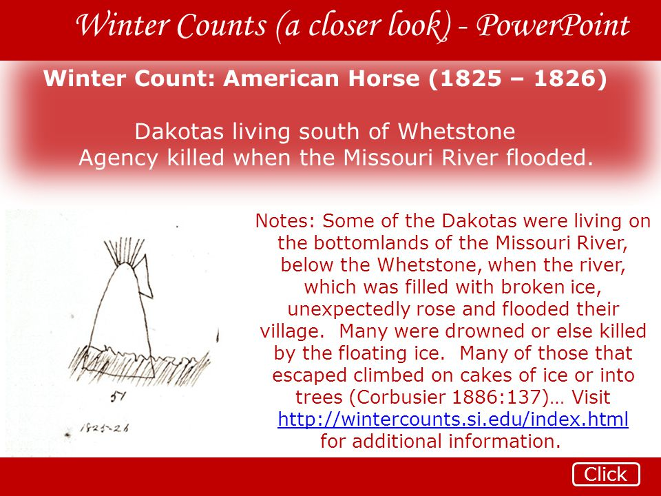 Winter Count: American Horse (1825 – 1826)