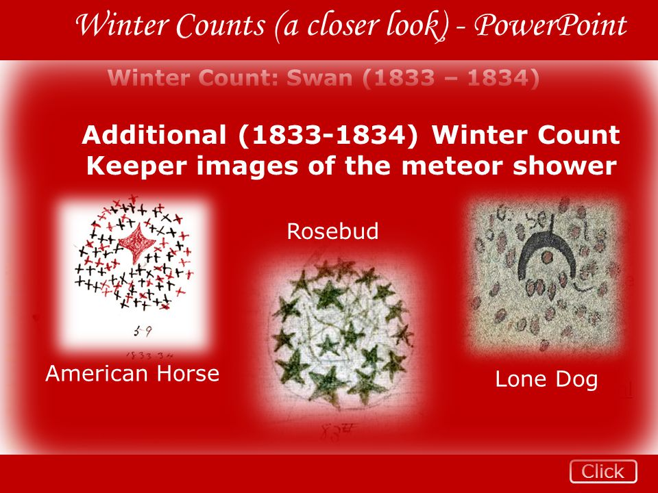 Additional (1833-1834) Winter Count Keeper images of the meteor shower