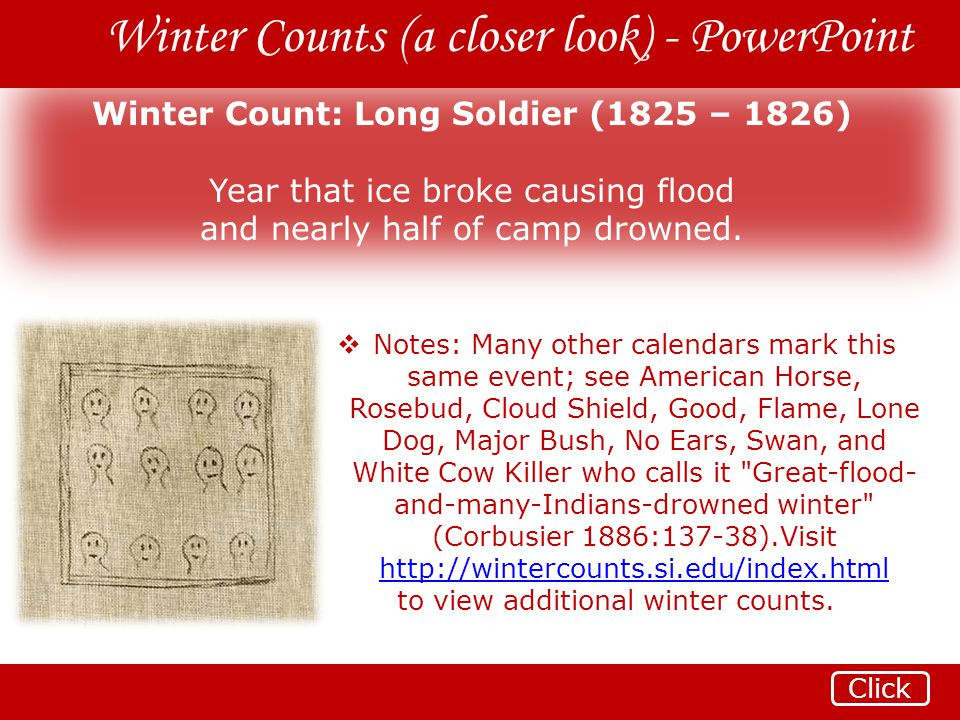 Winter Count: Long Soldier (1825 – 1826)