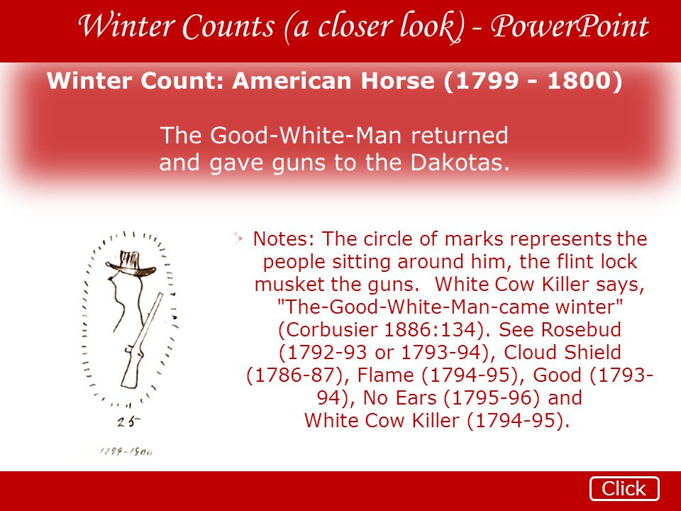 Winter Count: American Horse (1799 - 1800)