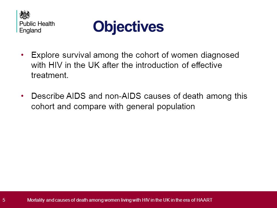 Objectives Explore survival among the cohort of women diagnosed with HIV in the UK after the introduction of effective treatment.