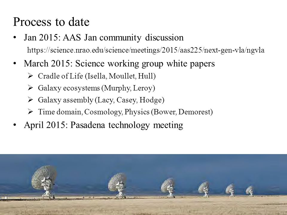 Process to date Jan 2015: AAS Jan community discussion