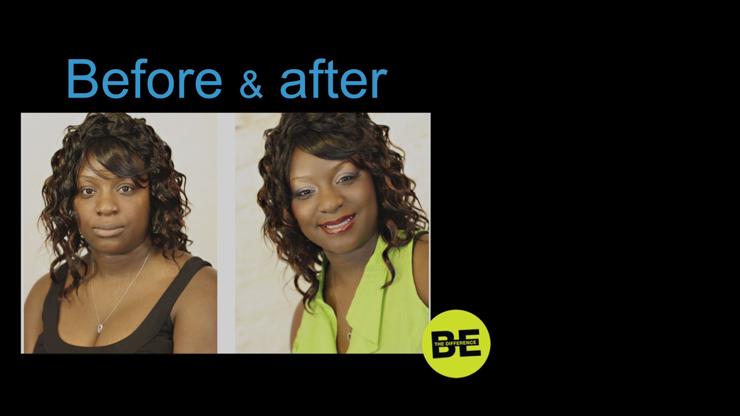 Before & after Think of the before and after photos of people who had makeovers …