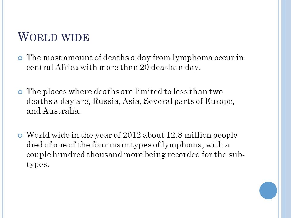 World wide The most amount of deaths a day from lymphoma occur in central Africa with more than 20 deaths a day.