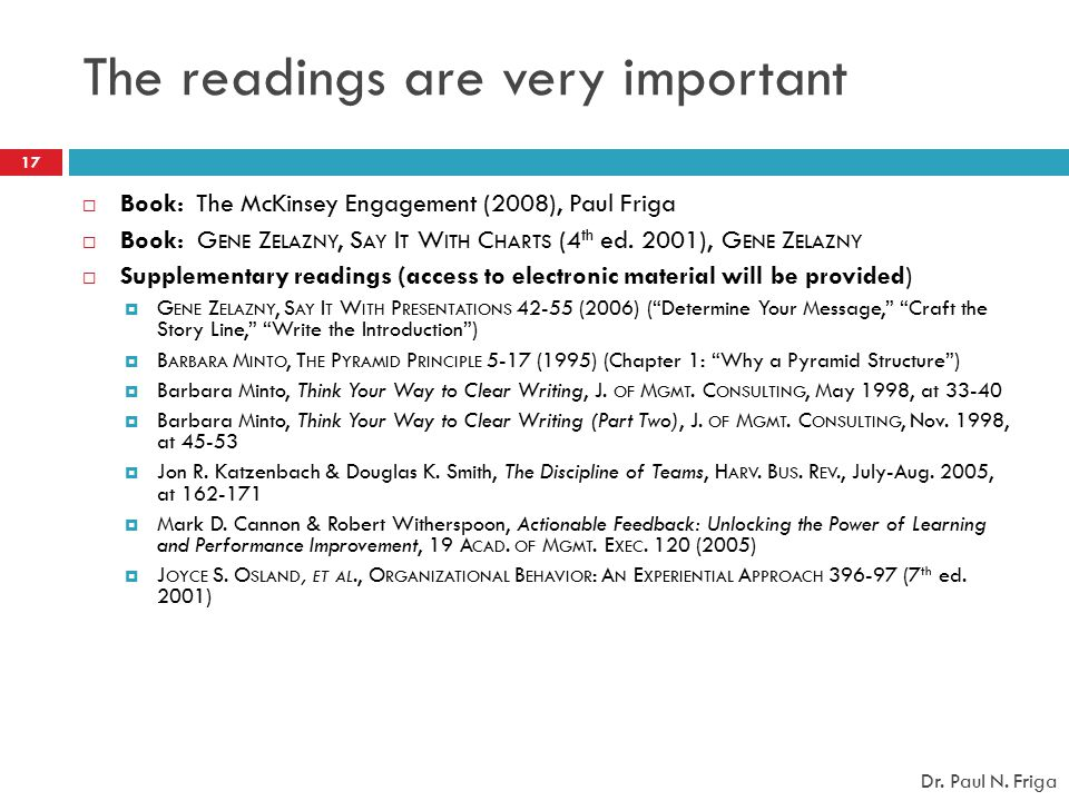The readings are very important