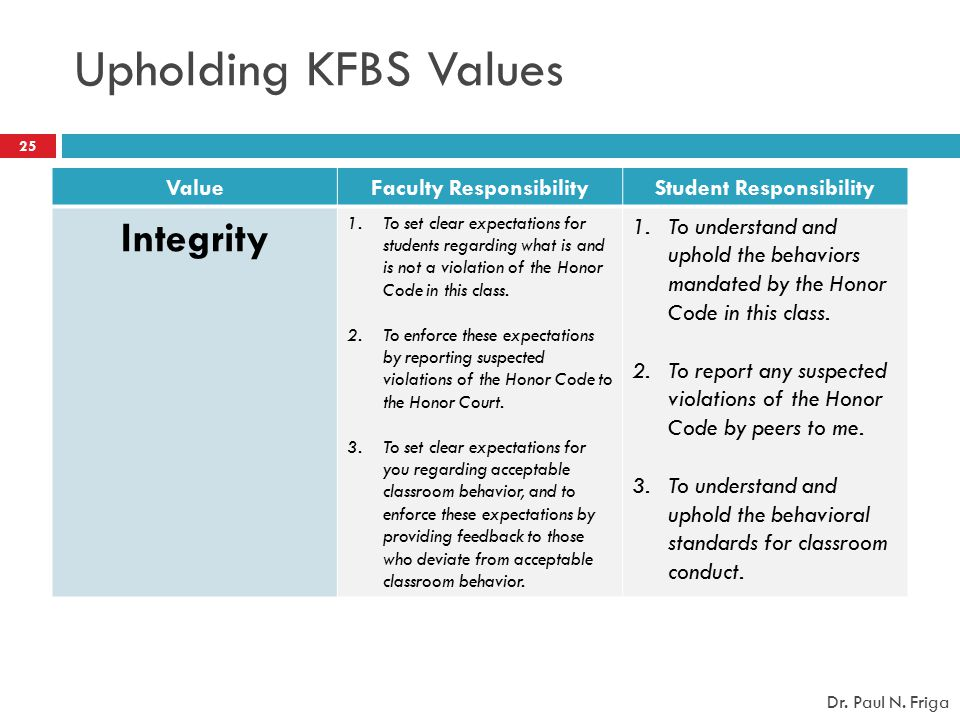 Faculty Responsibility Student Responsibility