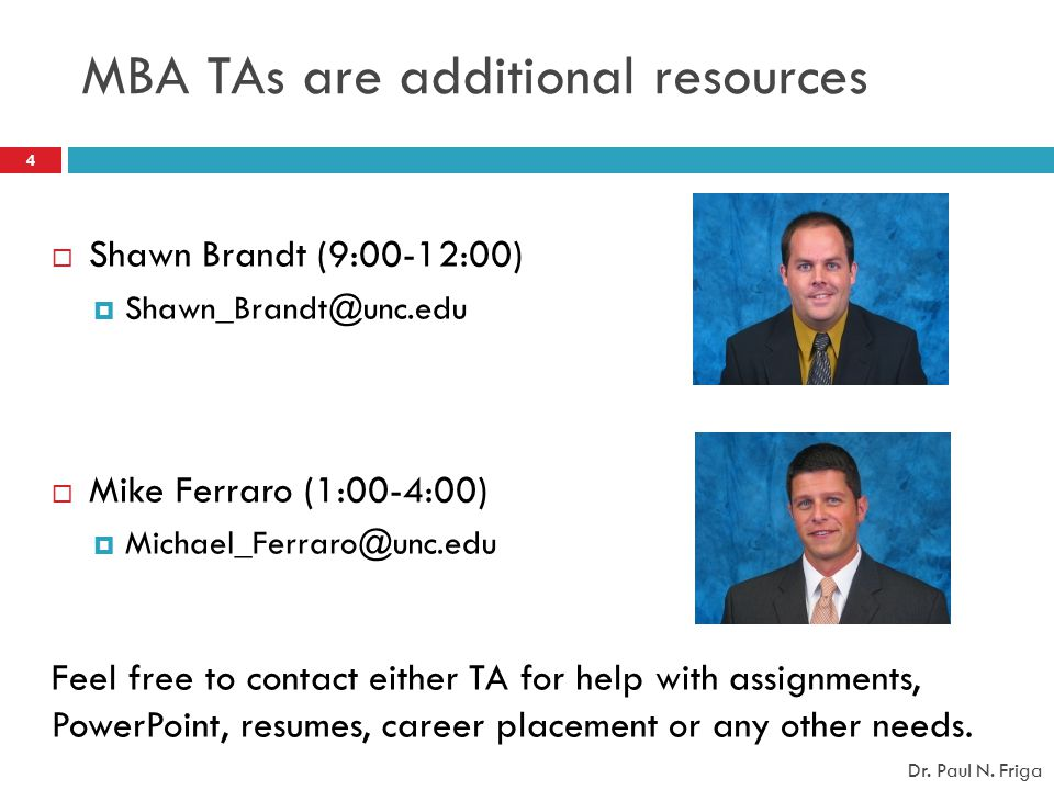 MBA TAs are additional resources