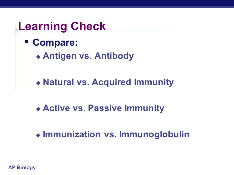 Learning Check Compare: Antigen vs. Antibody