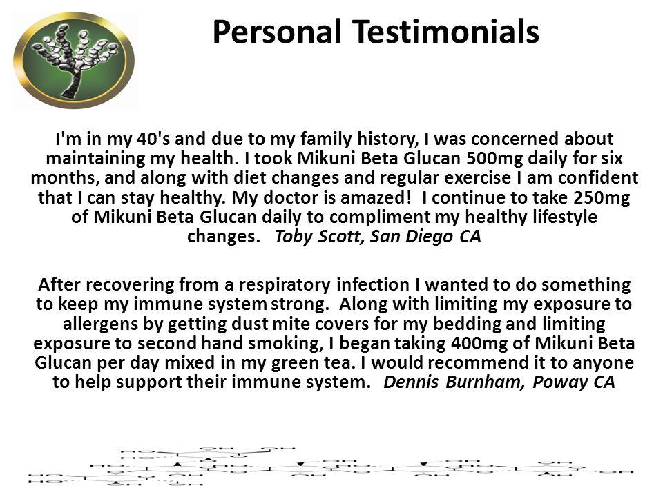 Personal Testimonials