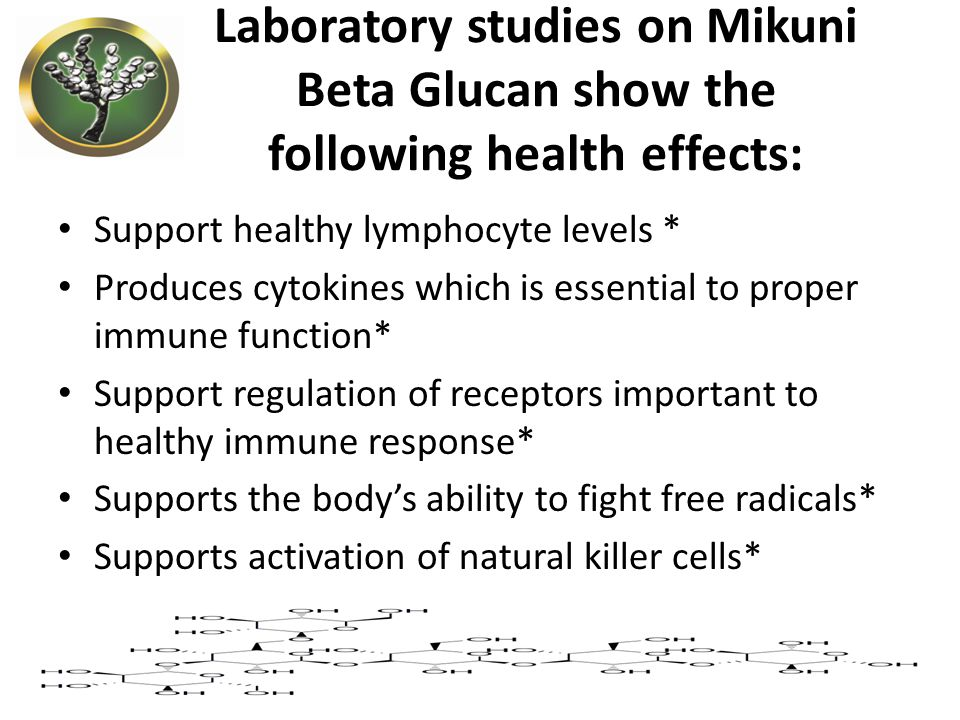 Laboratory studies on Mikuni Beta Glucan show the following health effects: