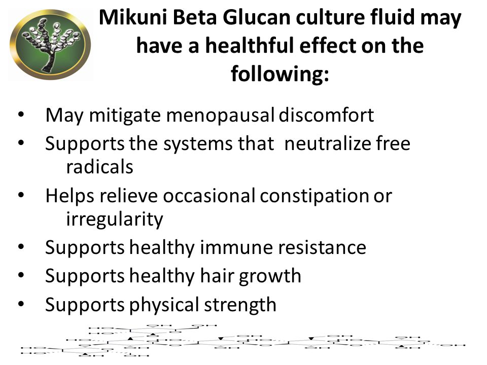 Mikuni Beta Glucan culture fluid may have a healthful effect on the following:
