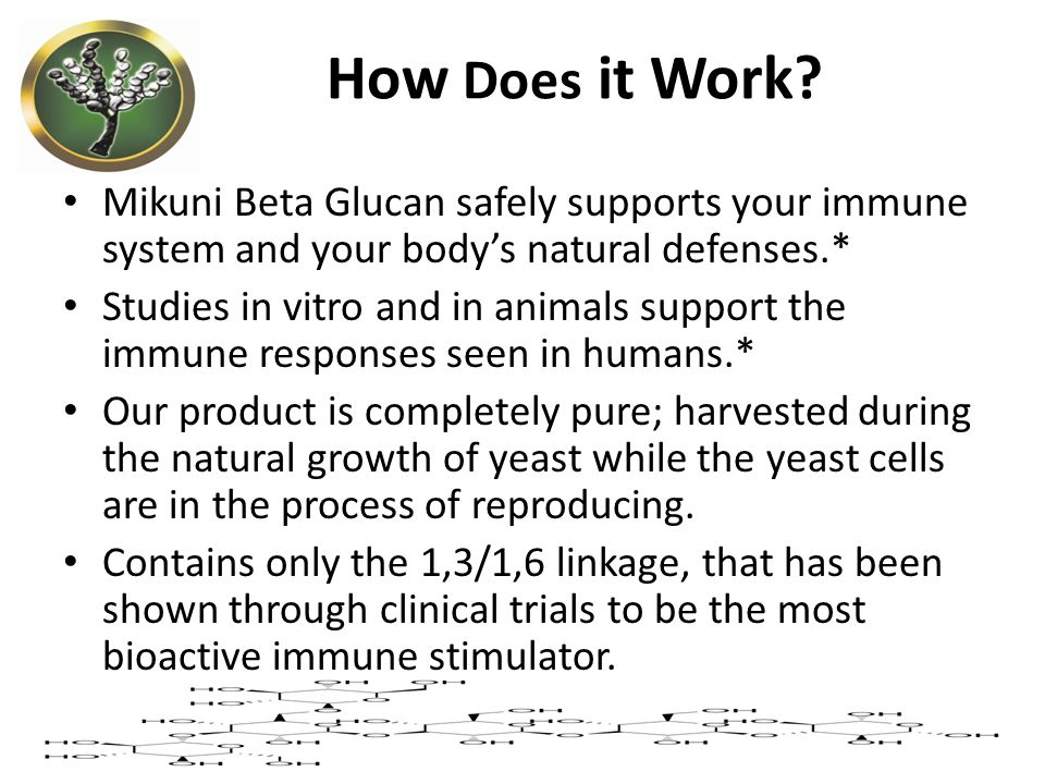 How Does it Work Mikuni Beta Glucan safely supports your immune system and your body's natural defenses.*