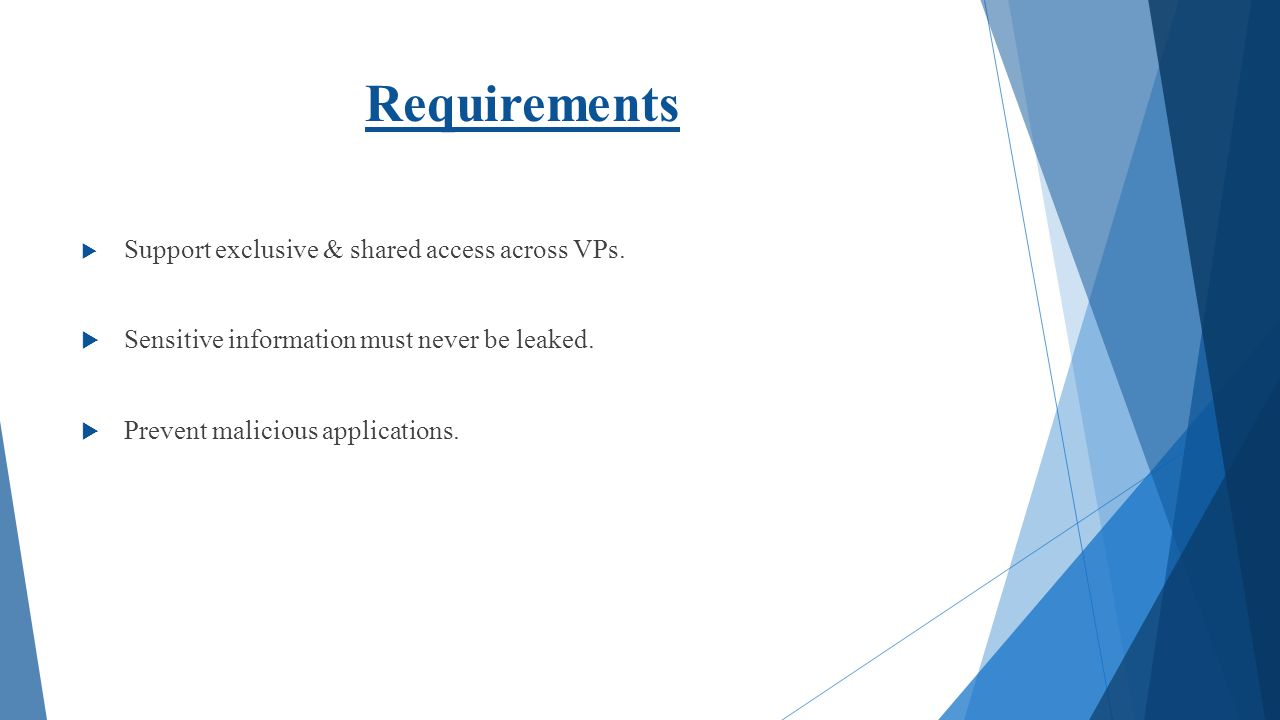 Requirements Sensitive information must never be leaked.
