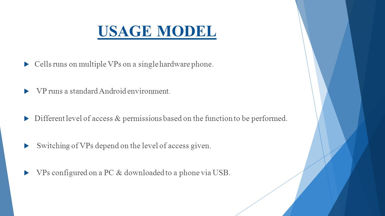 USAGE MODEL Cells runs on multiple VPs on a single hardware phone.