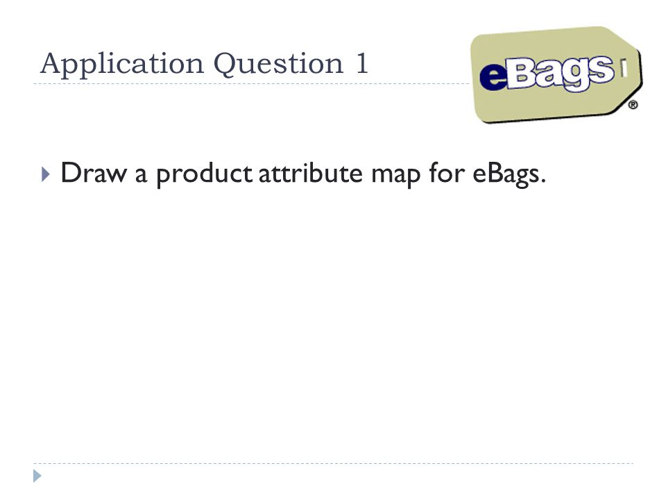 Application Question 1 Draw a product attribute map for eBags.