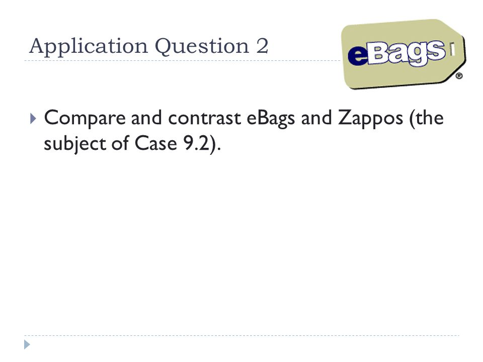 Application Question 2 Compare and contrast eBags and Zappos (the subject of Case 9.2).