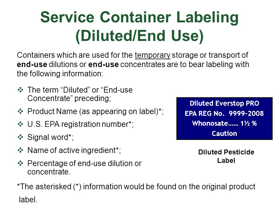 Service Container Labeling (Diluted/End Use)
