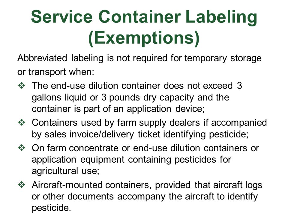 Service Container Labeling (Exemptions)