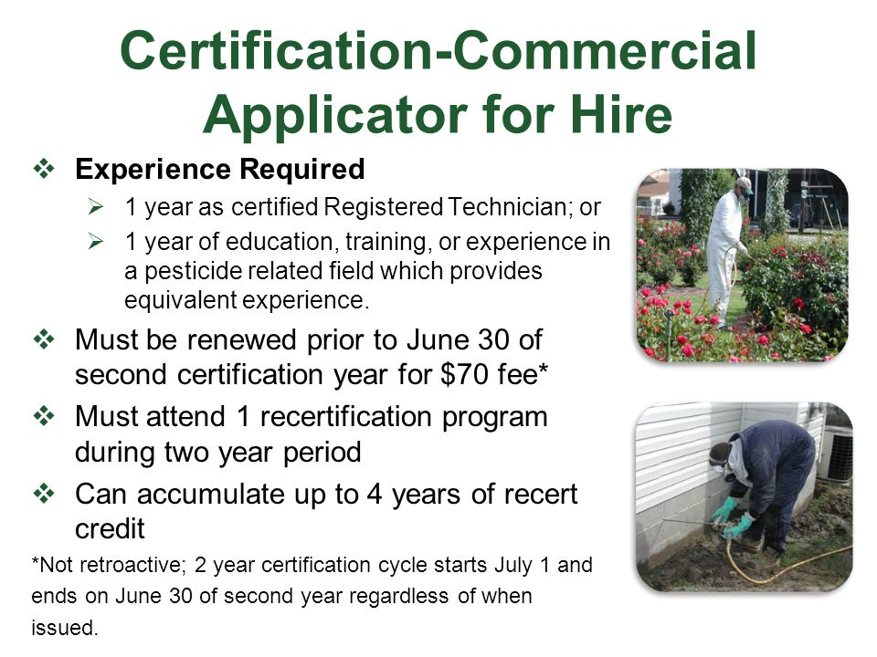 Certification-Commercial Applicator for Hire
