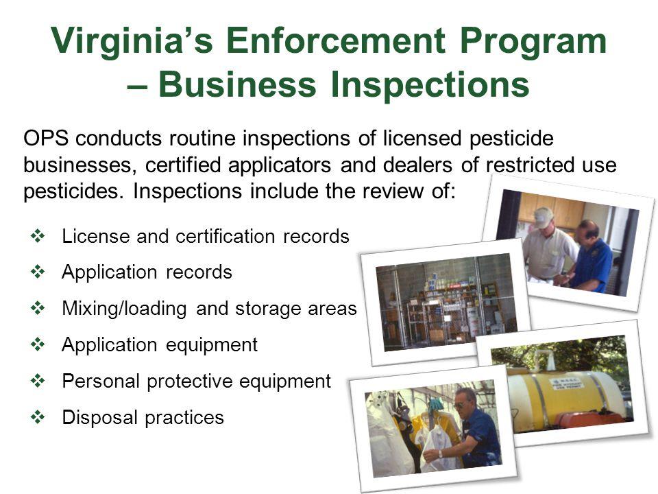 Virginia's Enforcement Program – Business Inspections