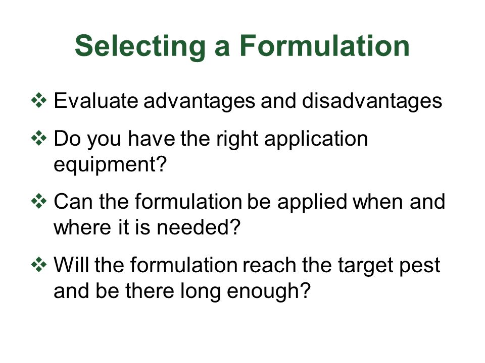 Selecting a Formulation