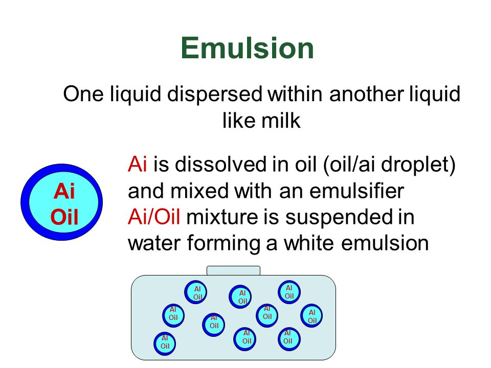 One liquid dispersed within another liquid