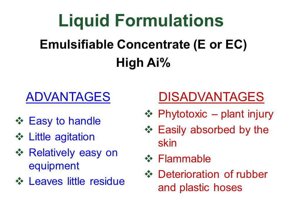 Emulsifiable Concentrate (E or EC)