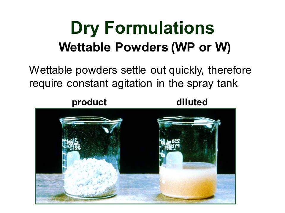 Wettable Powders (WP or W)