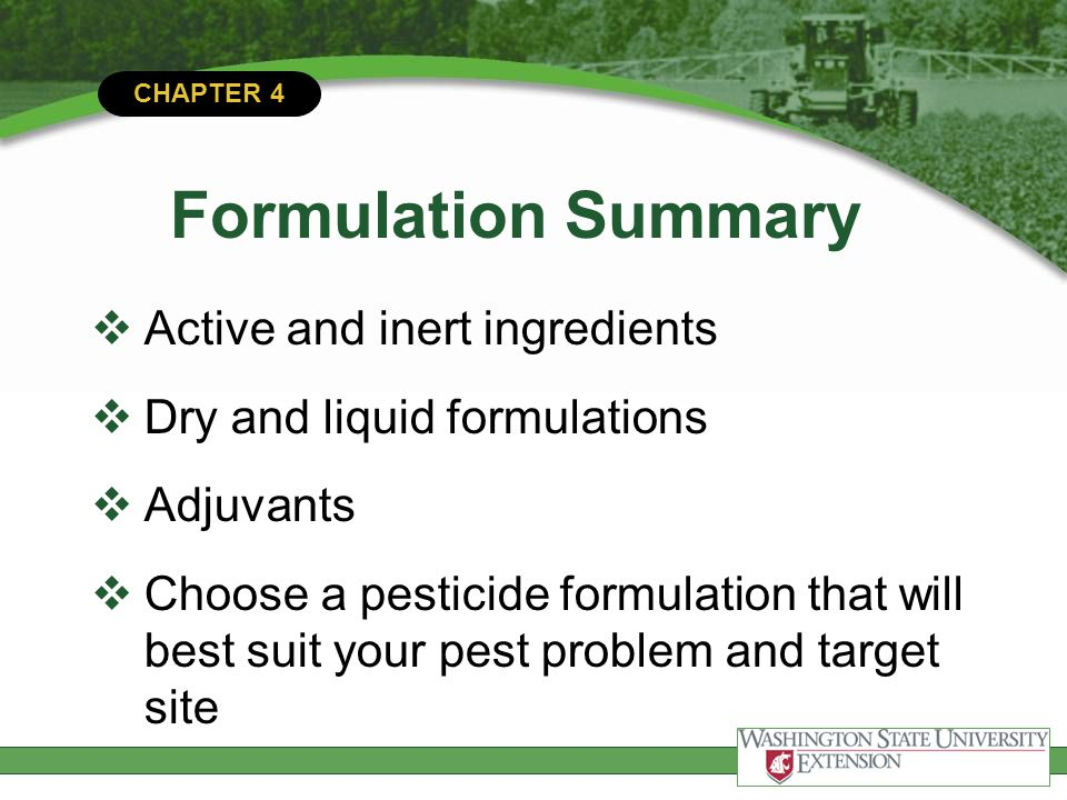 Formulation Summary Active and inert ingredients