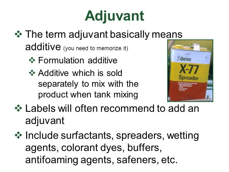 Adjuvant The term adjuvant basically means additive (you need to memorize it) Formulation additive.