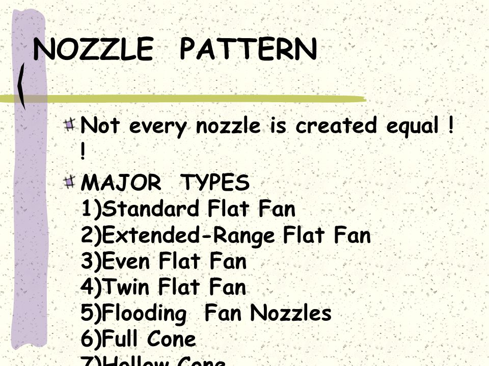 NOZZLE PATTERN Not every nozzle is created equal ! !