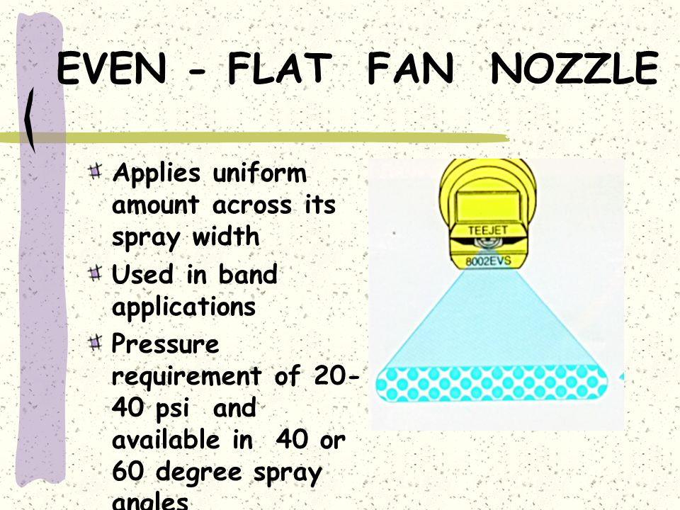 EVEN - FLAT FAN NOZZLE Applies uniform amount across its spray width