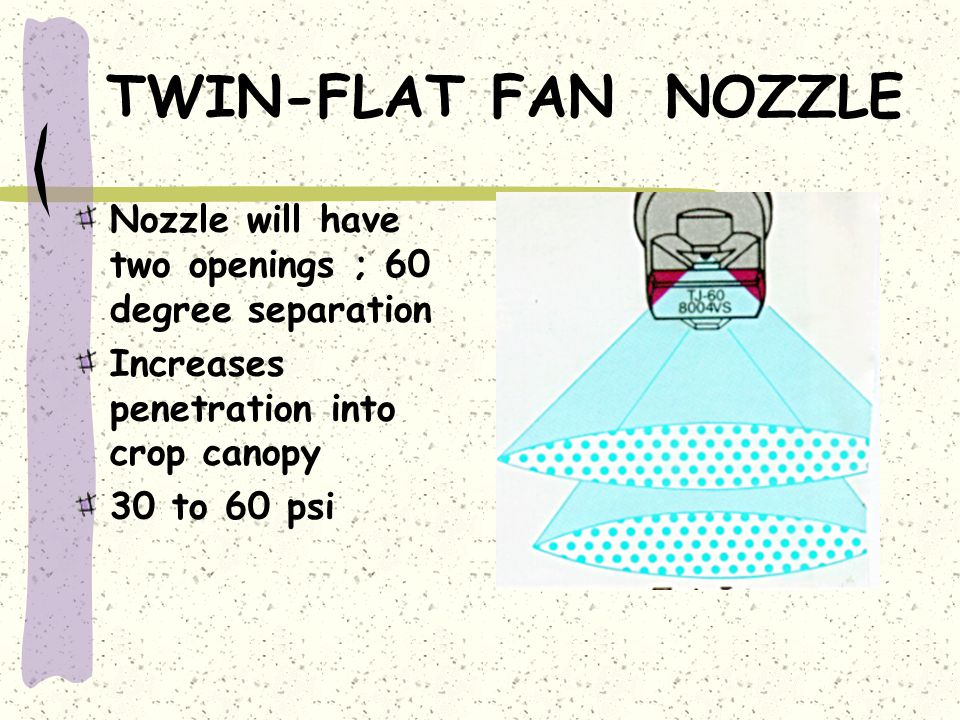 TWIN-FLAT FAN NOZZLE Nozzle will have two openings ; 60 degree separation. Increases penetration into crop canopy.