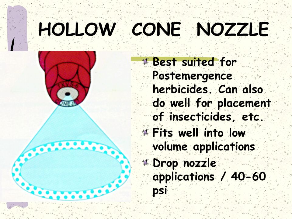 HOLLOW CONE NOZZLE Best suited for Postemergence herbicides. Can also do well for placement of insecticides, etc.