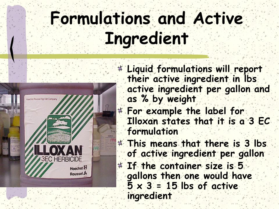 Formulations and Active Ingredient