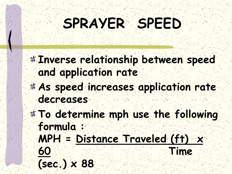 SPRAYER SPEED Inverse relationship between speed and application rate