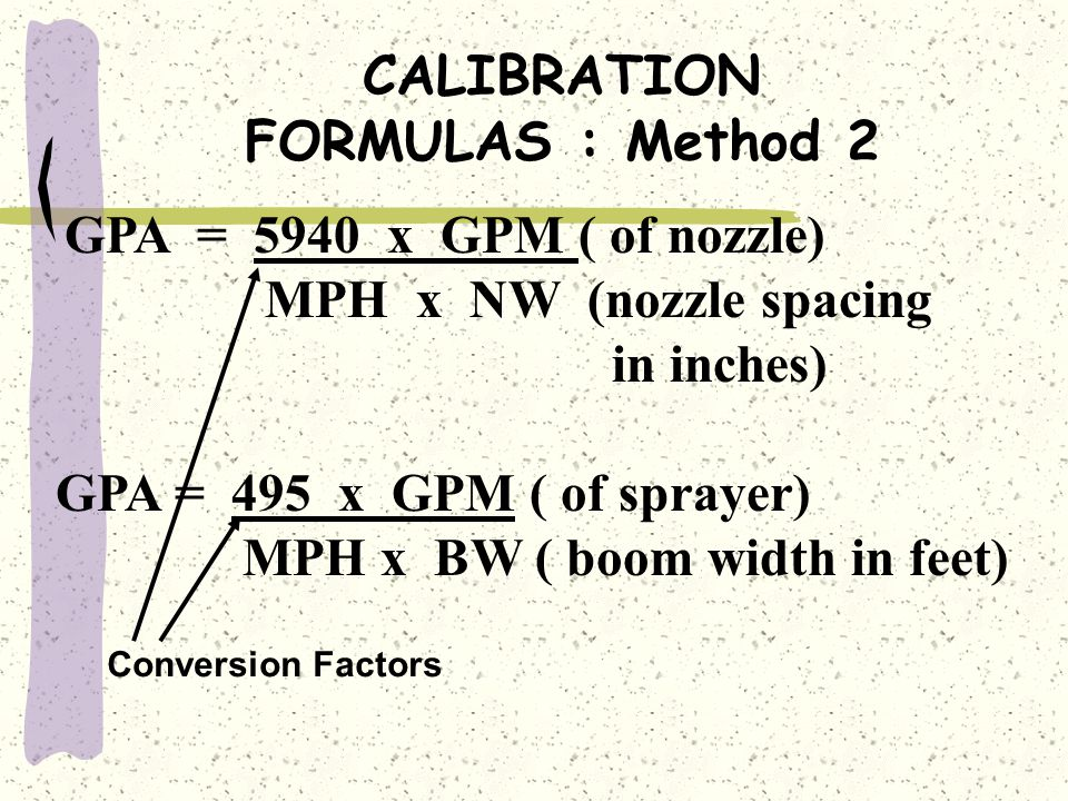 CALIBRATION FORMULAS : Method 2