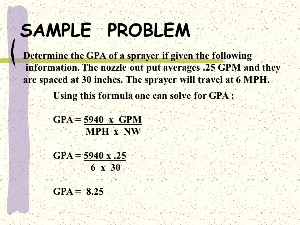 SAMPLE PROBLEM Determine the GPA of a sprayer if given the following