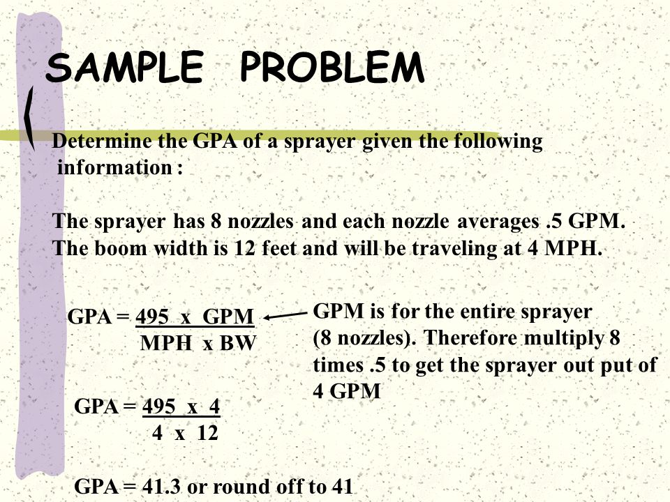 SAMPLE PROBLEM Determine the GPA of a sprayer given the following