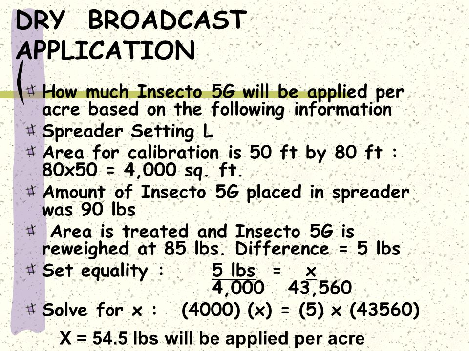 DRY BROADCAST APPLICATION