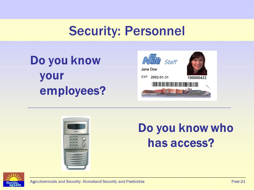 Security: Personnel Do you know your employees
