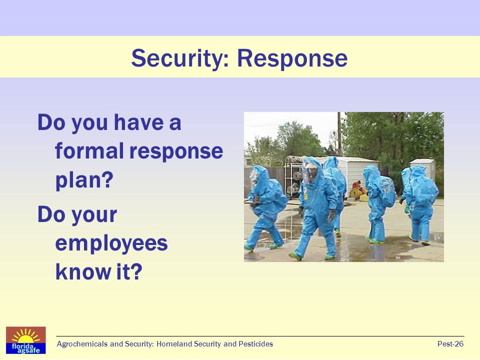 Security: Response Do you have a formal response plan